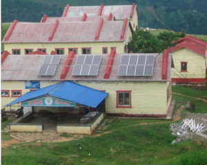 Solar panels provide energy for Bayalpata Hospital, located in a remote area in Nepal.